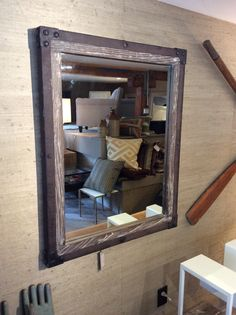 Industrial mirror available at Flipp in San Francisco. Fashionable Living in Petite Places