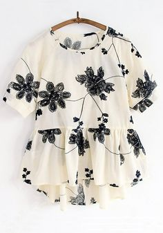 Apricot Big Flowers Embroidery Short Sleeve Blouse