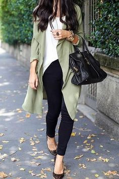 black skinnies, white top, olive trench outfit