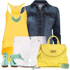 Yellow Cami and White Shorts Summer Fashion