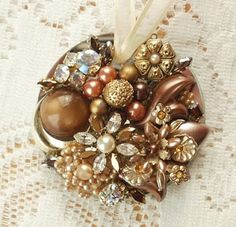 Michele's Treasures, Teacups, & Tumbling Rose Cottage: Vintage Jewelry Embellished Ornaments