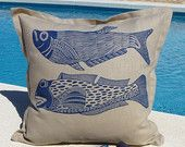 cushions, handprinted with linoblocks. Designs by Mariann Johansen-Ellis www.mariannjohansen-ellis.com