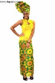 Orange Yellow and Green Wrapper and Head wrap  Item number: DPIO001$24.99