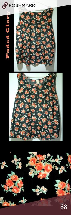 """Black and Red Floral Top EUC Size:2X 100% polyester so it doesn't cling to your clothes Length: 29"""" Armpit to Armpit: 25"""" Faded Glory Tops Tank Tops"""