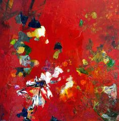 red-embers - mixed media painting