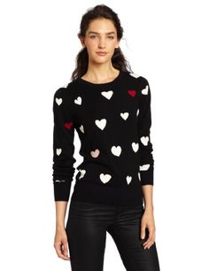 French Connection Womens USA Heart Knit Sweater Black Medium * Want to know more, click on the image.-It is an affiliate link to Amazon.