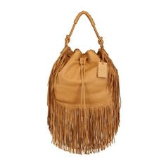 RALPH LAUREN Multi Fringes Grained Leather Hobo Bag ($1,250) ❤ liked on Polyvore