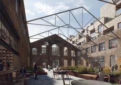 Nydalen Building Transformation Competition, Norway, JAJA Architects, 2016 [beauty and the bit - architectural visualization] Industrial Architecture, Architecture Renovation, Building Renovation, Landscape Architecture, Architecture Design, Factory Architecture, Design 3d, Urban Design, Warehouse Design