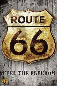 """Route 66 signage. It goes through northern New Mexico which I believe is truly """"the middle of nowhere""""."""
