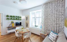 Malý byt 1+1 – HANÁK Olomouc Curtains, Shower, Contemporary, Living Room, Home Decor, Rain Shower Heads, Blinds, Decoration Home, Room Decor