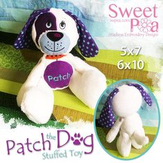 Patch the dog stuffie stuffed toy ITH in the hoop 5x7 6x10