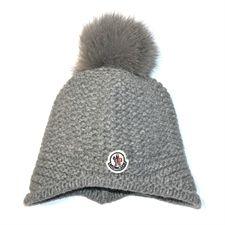 Moncler Grey Hat With Fur Pom Pom