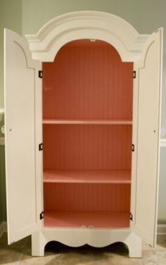 Adorable idea!!! Apply bead board to the inside of an armoire and paint a great color.