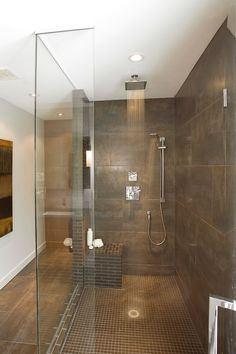 Shower head and large wall tiles | Usual House