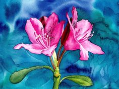 Rhododendron, Art Print of my original painting, watercolor flower, watercolor rhododendron. EsperoArt.