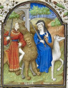 Detail of a miniature of a man with a sword riding a lion, as a personification of Pride (Orgueil), and a woman with a sword, riding a wolf, as a personification of Envy (Envie), in the Penitential Psalms, from The Dunois Hours, France (Paris), c. 1339 – c. 1450, Yates Thompson MS 3, f. 159r