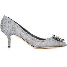 Dolce & Gabbana Embellished Lace Pumps ($895) ❤ liked on Polyvore featuring shoes, pumps, grey, floral shoes, pointed toe pumps, gray kitten heel pumps, grey pumps and gray shoes