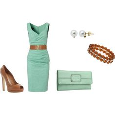 tiffany blue dress with camel accents and accessories paired with the perfect camel peeptoe pumps and classy pearl studs.