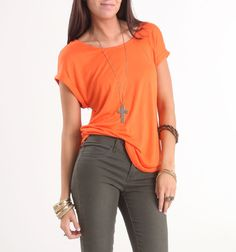 Kirra Lattice Back Solid Coral Tee PacSun $19.50