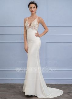 [US$ 147.49] Empire V-neck Sweep Train Satin Lace Wedding Dress (002107835)