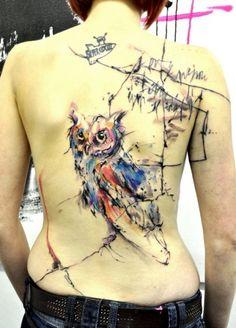 Owl tattoo by Musa / Studio: Tribo tattoo in Prague, Czech Republic