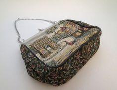 French Purse, Vintage Tapestry Purse, Carpet Bag Purse, La Marquise, tapestry bag, petit point purse, Paris bag, needlepoint purse, floral