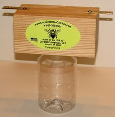 Maybe for my carpenter bees Woodworking Store, Woodworking Guide, Custom Woodworking, Woodworking Projects Plans, Teds Woodworking, Bee Problem, Bee Catcher, Carpenter Bee Trap, Bee Traps