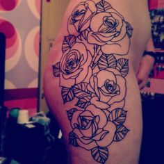 three roses in this style on the outside/back of my upper arm.