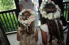 Flower girl head wreaths made by my grandmother... too precious for words!