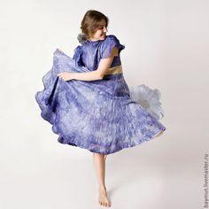 """Купить Валяное платье солнцеклеш """"Синяя орхидея"""" - шерстяное платье, валяное платье, нуно-фелтинг"""