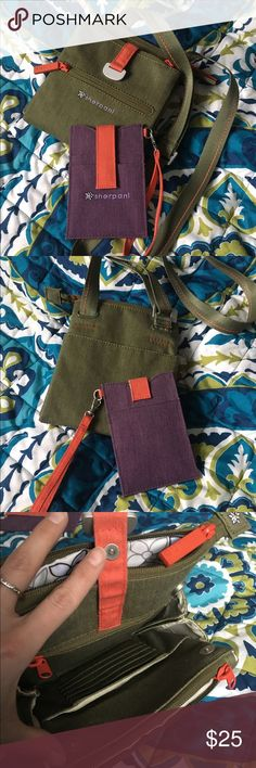 Sherpani Lima Bundle Sherpani Lima cross body bag in olive and card case in purple. Both are gently used and no snags, no stains and no other condition issues. The cross body bag has numerous multi functional pockets and additional card slots as well as a fully adjustable strap.  I don't use it anymore and its time to declutter some! Reasonable offers are welcome! Sherpani Bags Crossbody Bags