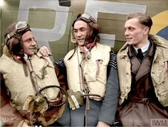 Sgts. E Szaposznikow, S Karubin and K Wünsche, 303 Squadron by a Mk.1 Hurricane at RAF Leconfield.  24 October 1940