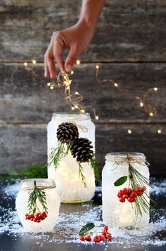 Crafts With Mason Jars Magical 5 minute DIY snow frosted mason jar decorations: FREE beautiful Thanksgiving & Christmas decor, gifts, winter wedding centerpieces, & great crafts! - A Piece of Rainbow Wine Bottle Crafts, Mason Jar Crafts, Mason Jar Diy, Mason Jar Candle Holders, Christmas Jars, Christmas Crafts For Kids, Holiday Crafts, Christmas Candy, Homemade Christmas