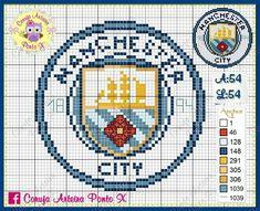 Cross Stitch Designs, Cross Stitch Patterns, Knitting Patterns, Crochet Patterns, Man City Badge, Manchester City Logo, Rhinestone Crafts, Hama Beads Design, Cross Stitching
