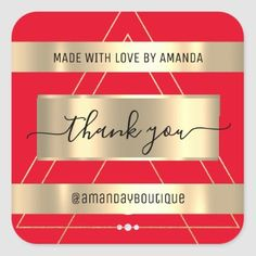 Thank You Shopping Custom Name Geometry Gold Square Sticker Anniversary Party Favors, Wedding Anniversary, Easy Peel, Bridal Shower Favors, Love Is Sweet, Business Supplies, Custom Stickers, Geometry, Keep It Cleaner