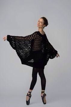 Crochet + Bon Bon Sweater, Black Fall / Winter 2014 HANIA by Anya Cole as worn by American Ballet Theatre's Julie Kent Julie Kent, How To Purl Knit, Knit Purl, American Ballet Theatre, Knitted Poncho, Fall Winter 2014, Dance Photography, Fashion Art, Lace Skirt