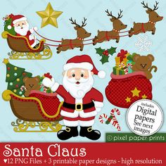 Christmas clipart - Santa Claus - Clip art and Digital paper set