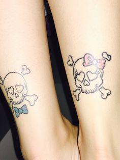 Skull Tattoo Design, Skull Tattoos, Tatoos, Tattoo Designs, Mom Daughter Tattoos, Tattoos For Daughters, Partner Tattoos, Couple Tattoos, Aquarell Tattoos