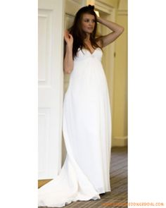 Line/Princess Strapless Chapel Train Chiffon wedding dress for ...