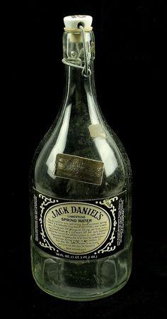 """Jack Daniels Limestone Spring Water 50 oz Embossed Glass 12"""" Bottle *EMPTY* #JackDaniels"""