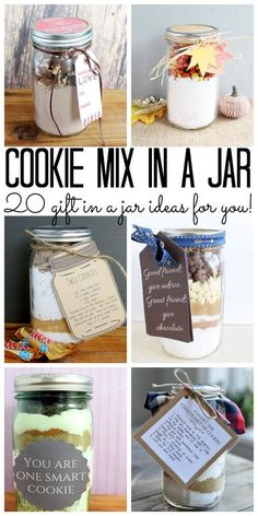 Mix in a Jar: 20 Ideas for You! Cookie Mix in a Jar: 20 gift in a jar ideas for any occasion! Cookie Mix in a Jar: 20 Ideas for You! Cookie Mix in a Jar: 20 gift in a jar ideas for any occasion! Mason Jar Meals, Mason Jar Gifts, Meals In A Jar, Mason Jar Diy, Gift Jars, Diy Gifts In A Jar, Mason Jar Christmas Gifts, Homemade Christmas Gifts, Homemade Gifts