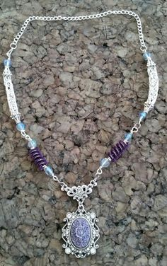 Viking knit chain necklace with Victorian pendant