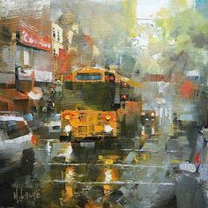 School Bus in the Rain by Mark Lague Oil ~ 11 x 11 Modern Art Paintings, Beautiful Paintings, Landscape Paintings, City Painting, Acrylic Painting Canvas, Canvas Art, Painting Competition, Collage Art Mixed Media, Art Techniques