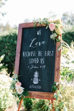 """""""We love because he loved us first"""" http://www.stylemepretty.com/new-jersey-weddings/chesterfield-township-new-jersey/2016/02/02/garden-party-inspired-wedding-infused-with-pineapples/ 