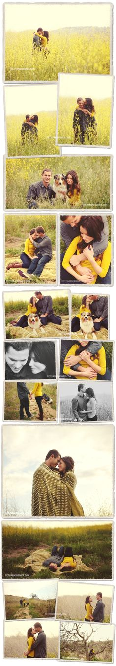 Cute engagement photos, love that they have their dog with them