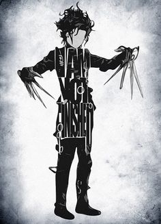 Edward Scissorhands Inspired Poster - Minimalist Illustration Typography Art Print & Poster