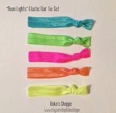 Neon Elastic Hair Tie Set of 5 by KokosShoppe on Etsy
