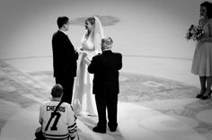 a wedding, a hockey game, a fun evening Hockey Games, Hockey Mom, Ice Hockey, Hockey Wedding, Penguin Wedding, Pretty White Dresses, Photography Day, Wedding Places, Wedding Things