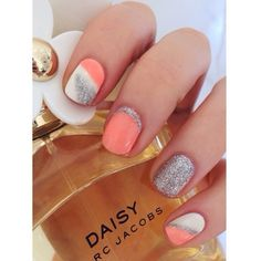 loveeee these coral, white & silver nails   replace the coral with any color of your choice