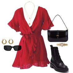 Red Dress Outfit Casual, Cute Casual Outfits, Simple Outfits, Stylish Outfits, Korean Girl Fashion, Look Fashion, Fashion Outfits, Diy Summer Clothes, Trendy Summer Outfits